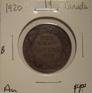 B Canada George V 1920 Large Cent - Au photo