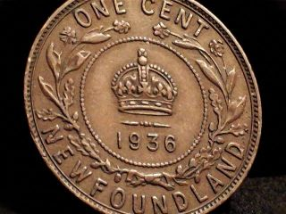1936 Newfoundlland Large One Cent Coin.  Pre - Confederation Canada photo
