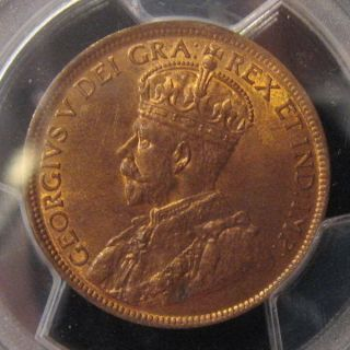 1916,  Canada Large Cent,  Georgev,  Pcgs Secure Ms 64rb,  Redbrown Toning photo