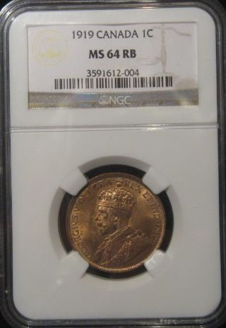 1919,  Canada Large Cent,  King George V,  Ngc Ms 64rb,  Redbrown Toning photo