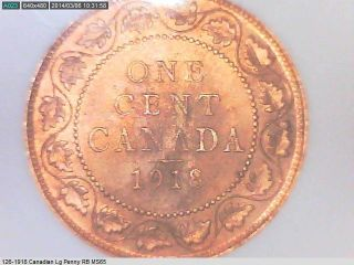 1918 Canada Large Cent Ms - 65 Rb photo