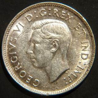 Rare 1943 Canada George Vi 25 Cents Km 35 About Uncirculated photo