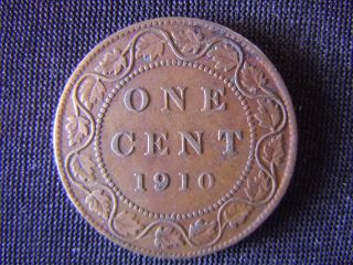1910 - Canada - Large - One - Cent - Coin -  - Canadian - Penny - 11 - K photo