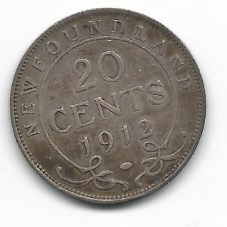 1912 Newfoundland Twenty Cent Coin Very Fine (c1114) photo