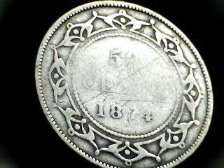1874 Newfoundland Fifty (50) Cent Coin. .  Pre - Confederation Canada photo