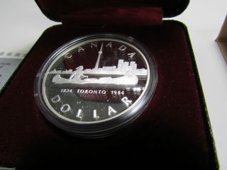 1984 Canada Cased Proof Silver Dollar,  Royal Canadian,  Toronto Coin photo