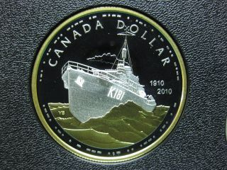 2010 100th Anniversary Of Canada ' S Royal Navy Canadian Gold Plated Silver Coin photo
