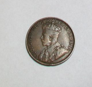 1912 Canada Canadian King George V Large One Cent Coin Penny photo