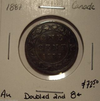 Canada Victoria 1887 Doubled Second 8 Large Cent - Au photo