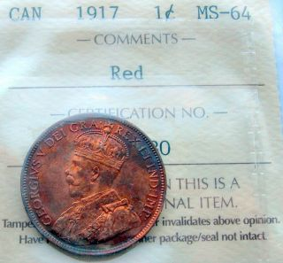 1917 Large Cent Iccs Ms - 64 Red & Lustrous Agem Brilliant Unc Penny photo