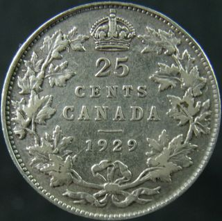 1929 Canada Twenty Five Cents Details Circulated photo