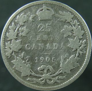 1905 Canada Twenty Five Cents Circulated photo