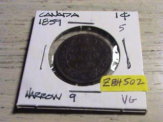 1859 Canadian Large Cent - Narrow 9 - Zbh502 photo