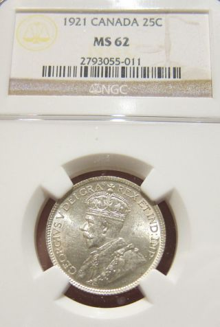 1921 Canada George 25 Cents Silver Bu Unc Ngc Ms - 62 photo