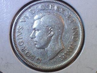 1944 Canada George Vi Twenty Five Cent Silver Coin photo