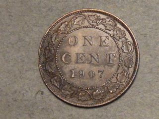 1907 Canadian Large Cent 1597b photo