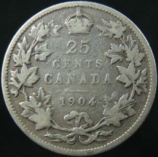 1904 Canada Twenty Five Cents Circulated photo