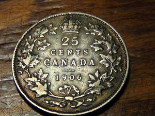 1906 Canada Twenty Five Cents 25c photo