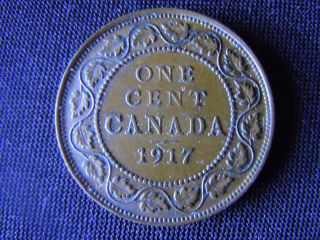 1917 - Canada - Large - One Cent - Coin - - Canadian - Penny - F47 photo