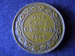 1919 - Canada - Large - One - Cent - Coin -  - Canadian - Penny - H11 photo