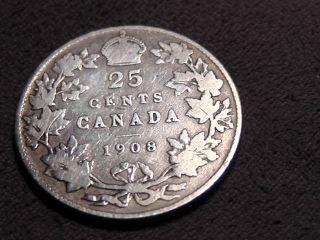 1908 Canada Twenty Five Cents 25c photo