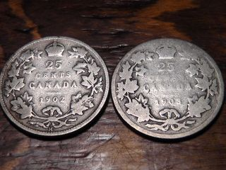 1902h And 1903 Canada Twenty Five Cents 25c photo