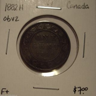 Canada Victoria 1882h Obv 2 Large Cent - F, photo