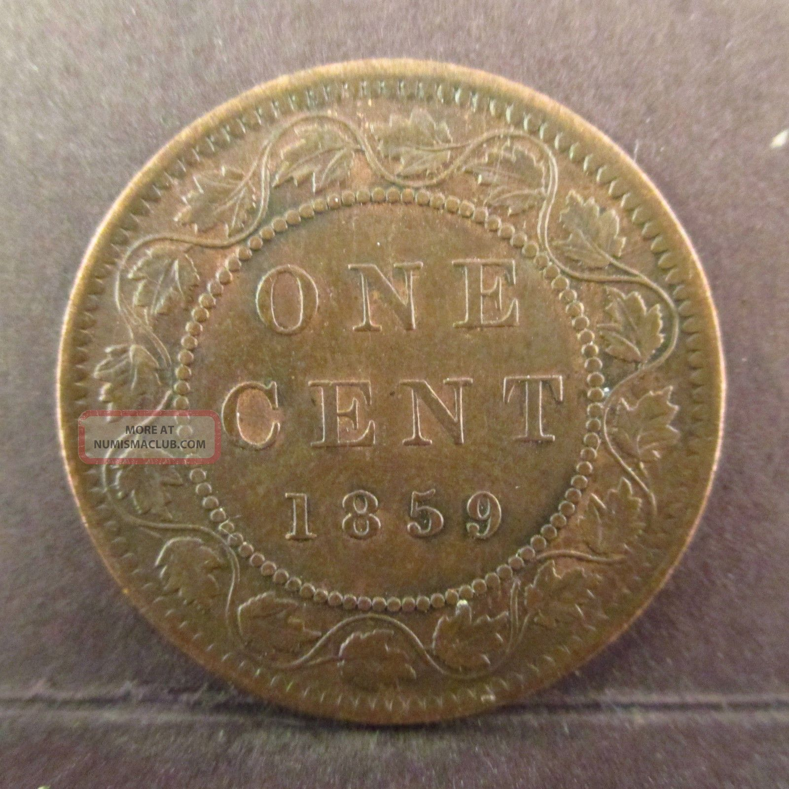 1859 Canadian Large One Cent Canada Queen Victoria Medal Axis Higher Grade