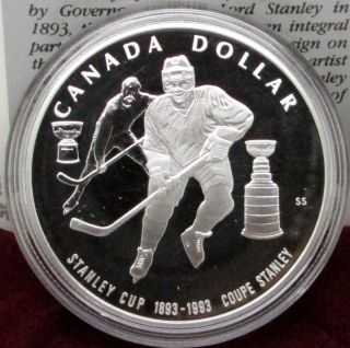 1993 Canada Silver Proof Dollar - 100th Anniversary Of Stanley Cup photo
