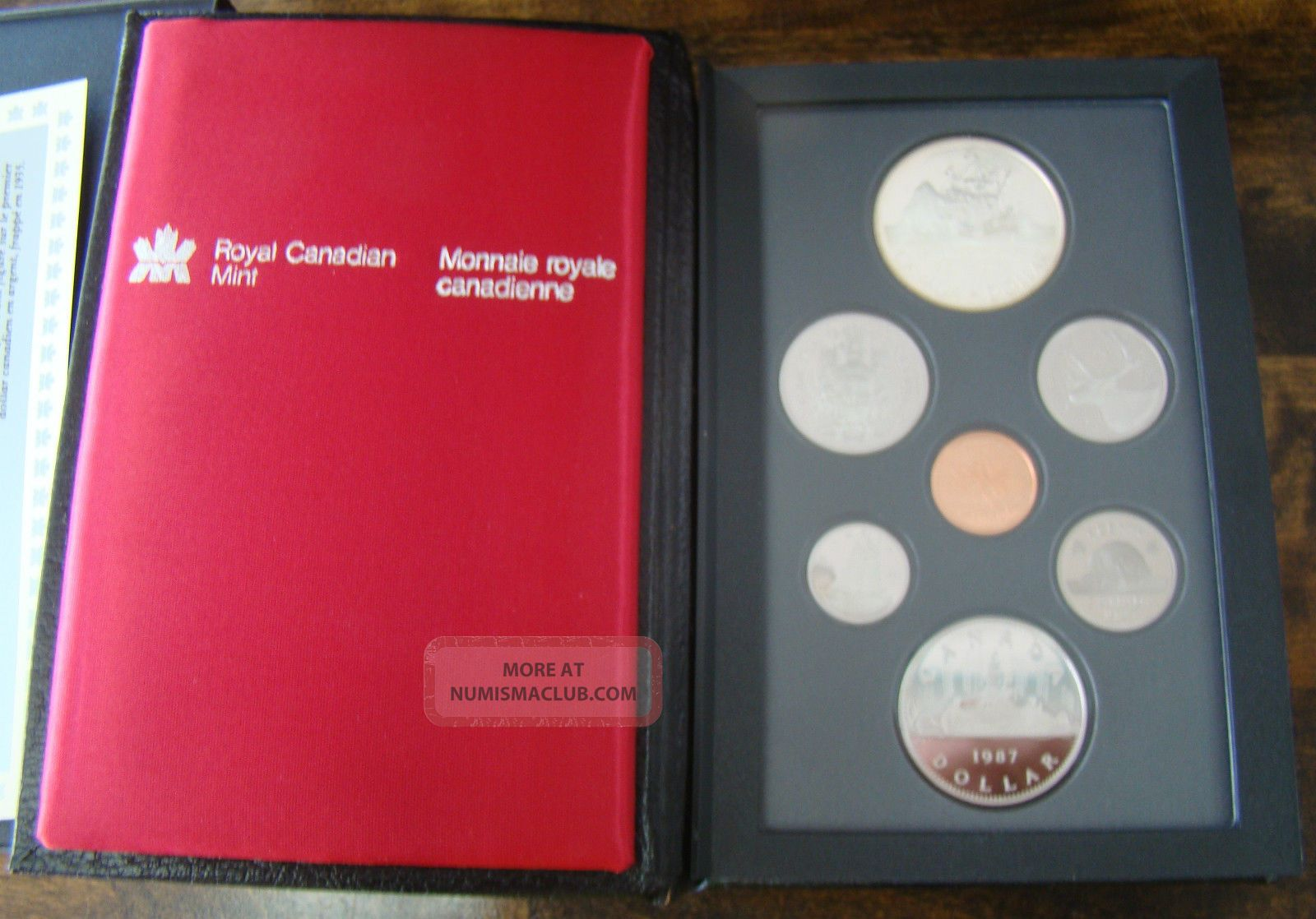 1987 Canada 7 Pc Quot Double Dollar Quot Dc Proof Coin Set W Leather Case Box