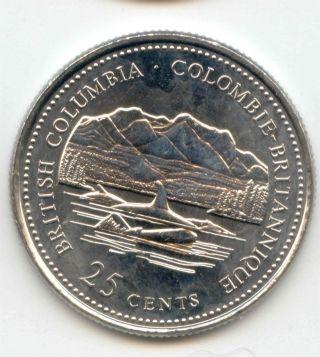Canada 1867 - 1992 British Columbia Quarter Canadian 25 Cent 25c Exact Coin Shown photo