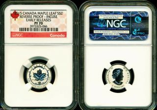 2015 $2 Canada Silver Maple Leaf Incuse Ngc Pf70 Ucam Reverse Proof 1/10 Oz Pr70 photo