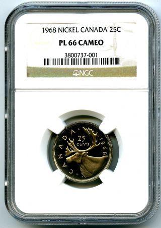 1968 Canada Quarter 25 Cent Ngc Pl66 Cameo Proof Like Rare Top Pop=3 photo