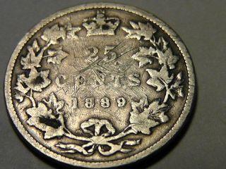 1889 Canada Twenty Five Cents 25c photo