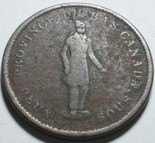 1837 Bas (lower) Canada Deux Sous Or One Penny,