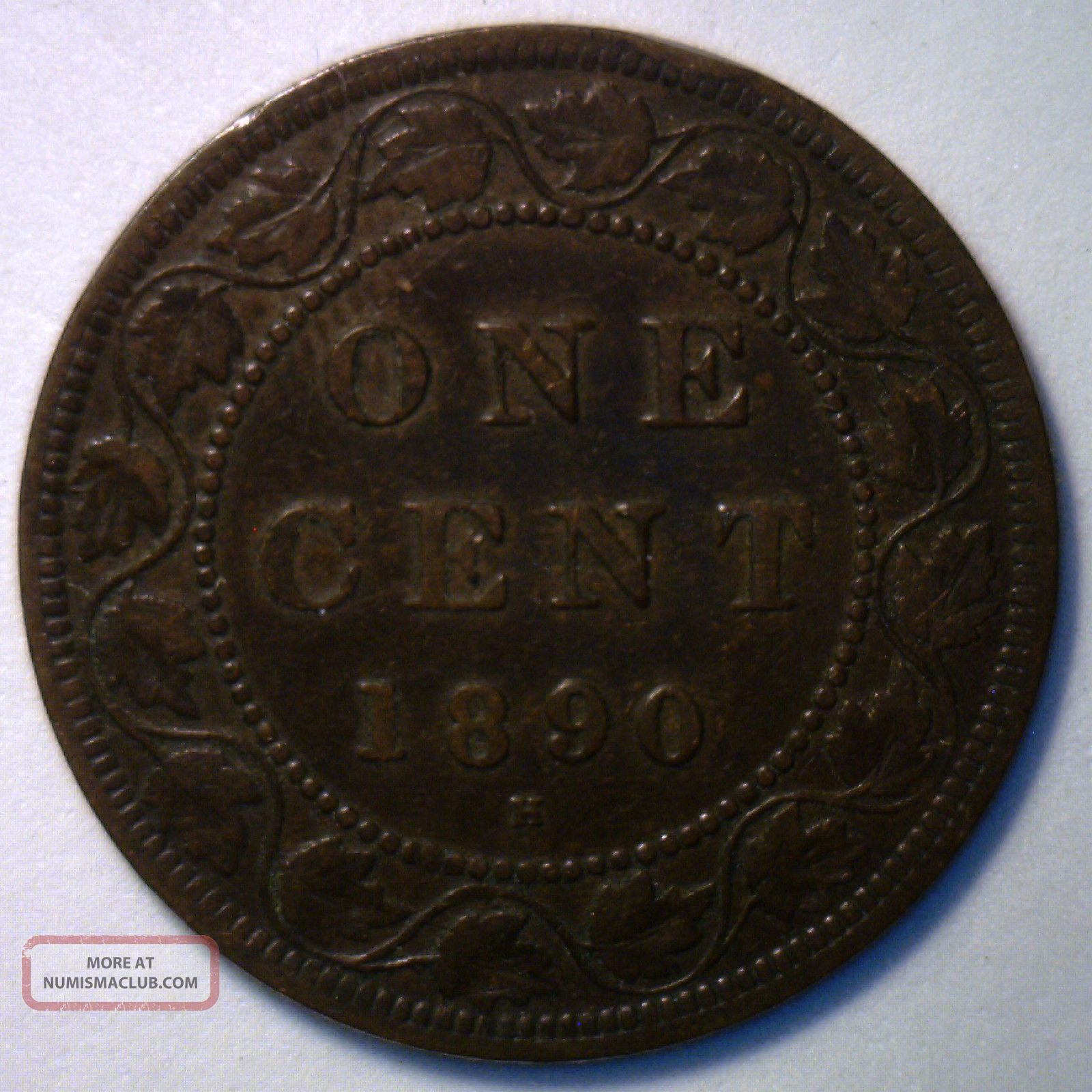1890 H Canadian Bronze Large Cent Coin Canada One Cent F