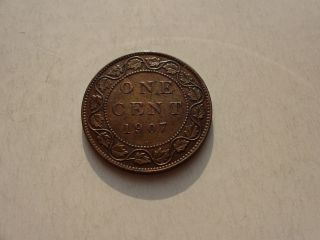 Key Date 1907 H Canada Canadian Large One Cent Penny In Au, photo