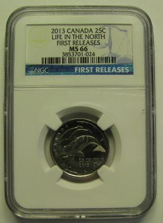 2013 Ngc Ms66 25 Cents Life North (whales,  Finish A) 1st Releases Canada Twenty - photo