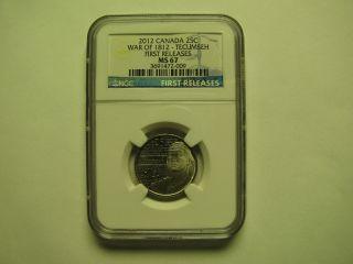 2012 Ngc Ms67 25 Cents War 1812 Tecumseh 1st Releases Canada Twenty - Five Quarter photo