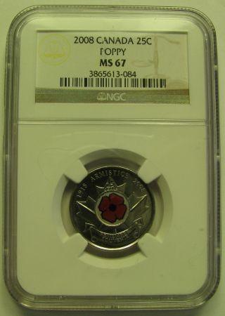 2008 Ngc Ms67 25 Cents Poppy (coloured) Canada Twenty Five Quarter photo