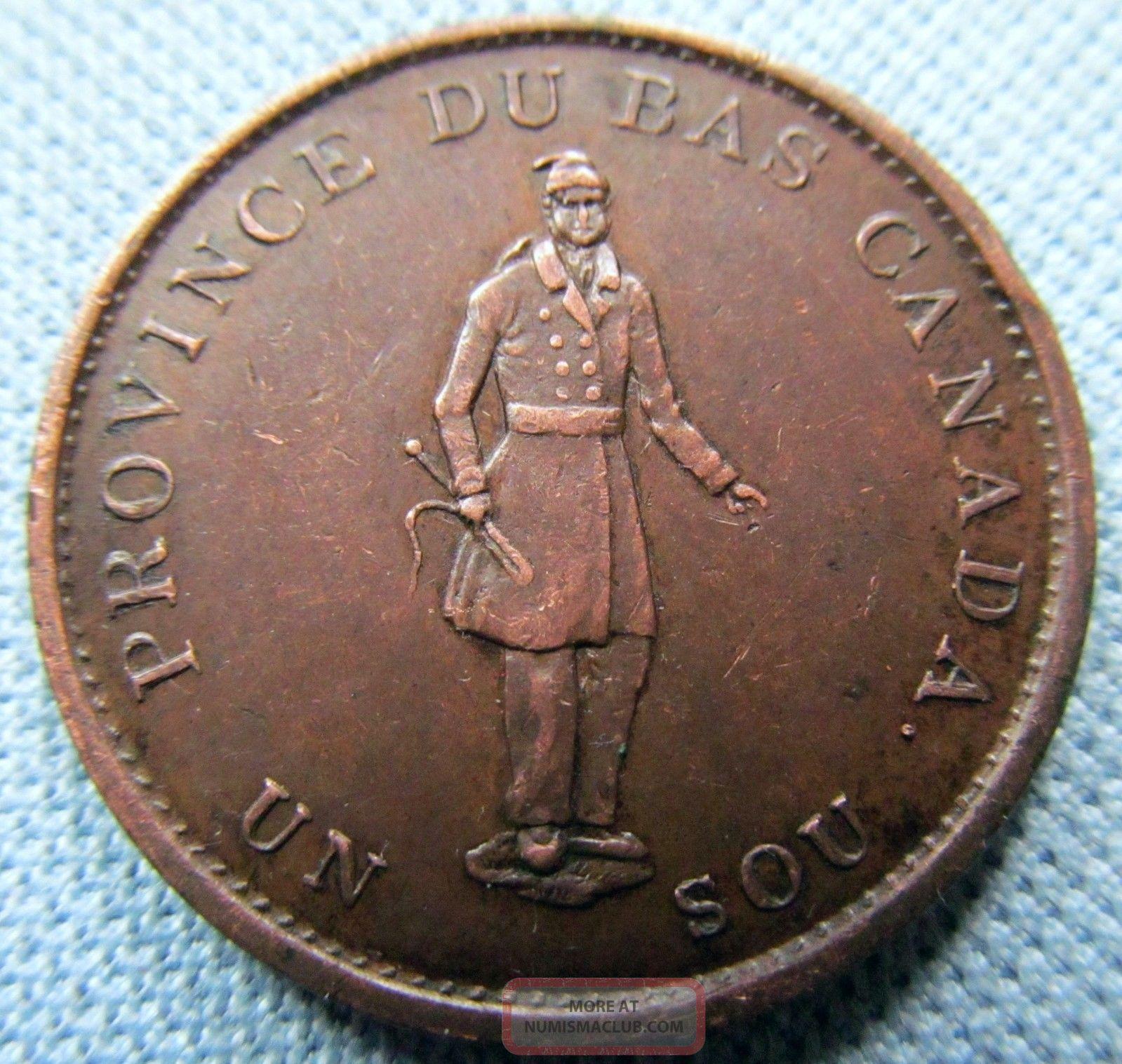 1837 Province Du Bas Canada Un Sou Halfpenny Token Quebec