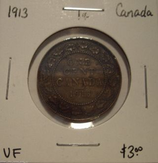 Canada George V 1913 Large Cent - Vf photo