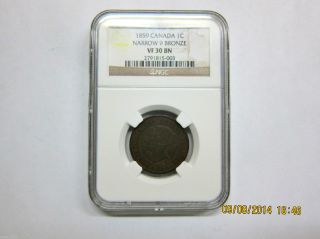 1859 Canada Large Cent Ngc Vf30 Bn Narrow 9.  Coin 2 photo