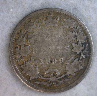 Canada 25 Cents 1899 Silver Coin (stock 0814) photo