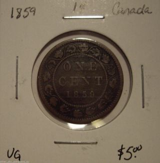 Canada Victoria 1859 Large Cent - Vg photo