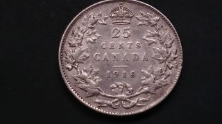 1918 Canada Quarter 25 Cent Canadian Coin.  925 Silver Coin Vf - Ef photo