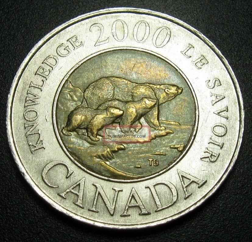 Canada 2 Dollars 2000 Coin Km 399 Bi Metallic2 Bears