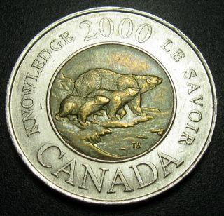 Canada 2 Dollars 2000 Coin Km 399 Bi - Metallic2 Bears photo