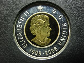 2006 Canadian Silver Proof Toonie ($2.  00) Key Date Double Date 1996 - 2006 Toned photo