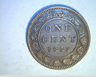 1859 Canada,  1 Penny,  Nar 9,  Circulated Bronze Coin (can - 519) photo